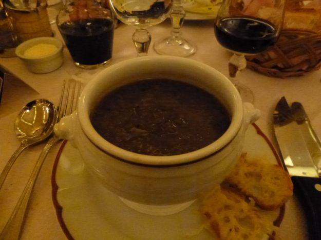 Traditional French onion soup. Delicious.